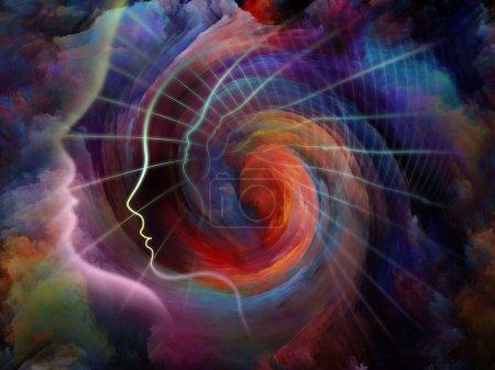 Photo pour Géométrie de l'âme série deux. Conception de fond du profil humain et des éléments abstraits sur la spiritualité, la science, la créativité et l'esprit - image libre de droit