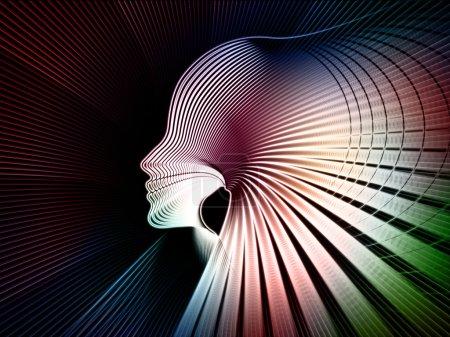 Foto de Geometría de la serie alma. composición de las líneas del perfil de la cabeza humana en materia de educación, ciencia, tecnología y diseño gráfico - Imagen libre de derechos