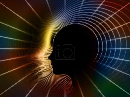 Foto de Geometría de la serie alma. arreglo abstracta de líneas de perfil de cabeza humana conveniente como telón de fondo para proyectos de educación, ciencia, tecnología y diseño gráfico - Imagen libre de derechos