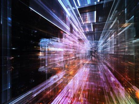 Photo pour Série City Lights. Conception abstraite faite de textures fractales technologiques sur le sujet de la science, de la technologie, du design et de l'imagination - image libre de droit