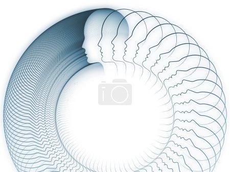 Foto de Geometría de la serie alma. Composición abstracta de líneas de perfil de cabeza humana adecuado como elemento en proyectos relacionados con la educación, ciencia, tecnología y diseño gráfico - Imagen libre de derechos