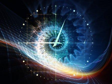 Photo pour Série de temps de symétrie. interaction de horloge et fractale des éléments sur la question du temps, espace et science - image libre de droit