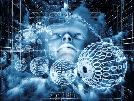 Photo pour Au-delà des séries humaines. Composition des formes humaines, fractales et naturelles au sujet de la réalité intérieure, de la santé mentale, de l'imagination, de la pensée et du rêve - image libre de droit