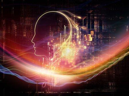 Photo pour Série d'intelligence artificielle. Interaction du profil humain et des chiffres sur le thème de la pensée, de la logique, des ordinateurs et des technologies futures - image libre de droit