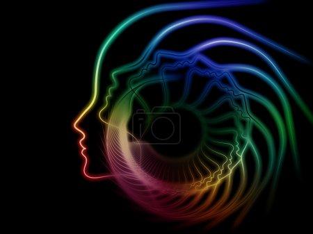 Photo pour Série interne de récurrence. Design composé de profil humain et de formes géométriques comme métaphore sur le sujet de la réalité intérieure, de la santé mentale, de l'imagination, de la pensée et du rêve - image libre de droit