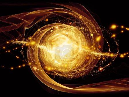 Foto de Serie de partículas elementales. Interacción de formas fractales abstractas sobre el tema de la física nuclear, la ciencia y el diseño gráfico . - Imagen libre de derechos