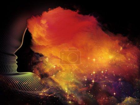 Photo pour Filles de jamais de série. conception composé de formes humaines de profil et fractal comme une métaphore sur le sujet de la réalité intérieure, santé mentale, imagination, penser et de rêver - image libre de droit