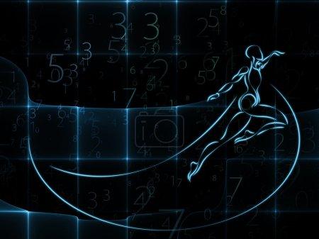 Photo pour Série Géométrie de l'homme. Conception abstraite faite de dessin humain, mathématiques, géométrie et éléments de conception sur le sujet de la science, l'esprit, l'intelligence et l'éducation - image libre de droit