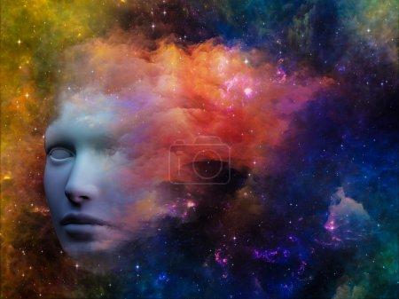 Photo pour La série Girls of Never. Conception de fond du profil humain et des formes fractales sur le sujet de la réalité intérieure, de la santé mentale, de l'imagination, de la pensée et du rêve - image libre de droit