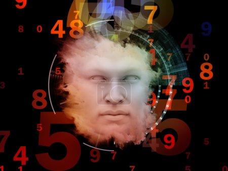 Photo pour Série anthropocentrique. conception composé de visage humain et éléments de conception comme une métaphore sur le thème de l'esprit humain, sciences, éducation et technologie - image libre de droit