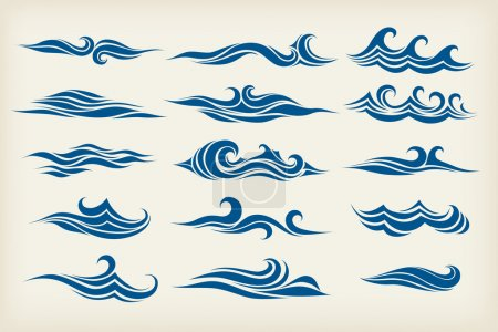 Illustration for Set from sea waves - stylized design - Royalty Free Image