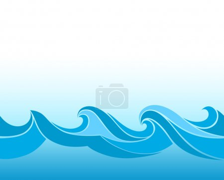 Illustration for Blue background with stylized waves - Royalty Free Image