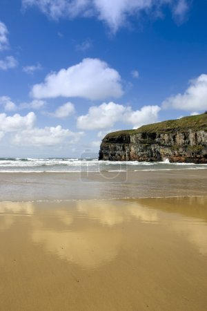 Atlantic view of Ballybunion cliffs and beach