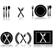 Icon illustrations of fork knife and spoon arranged in different ways