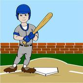 Cartoon illustration showing a baseball player holding a bat near homeplate