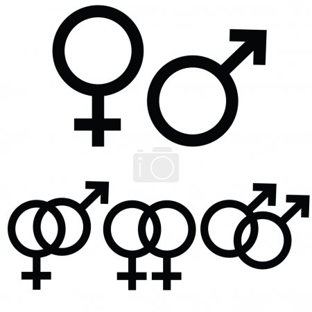 Illustration for Male and female icon signs presented separately, as well as together to symbolize different types of relationship - Royalty Free Image