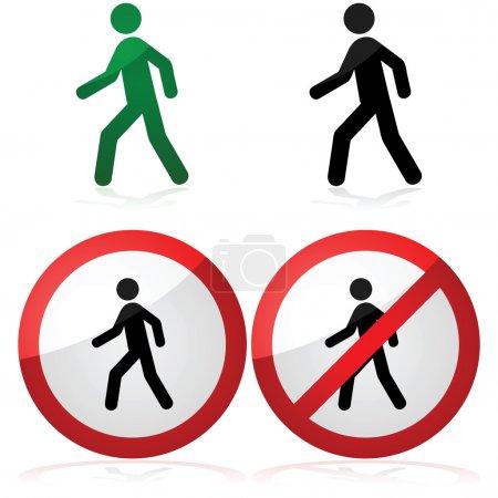 Illustration pour Illustration d'icône montrant un homme marchant ainsi qu'une marche autorisée et des signes interdits - image libre de droit