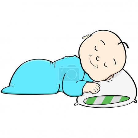 Illustration for Cartoon illustration showing a baby sleeping with its head on a pillow - Royalty Free Image