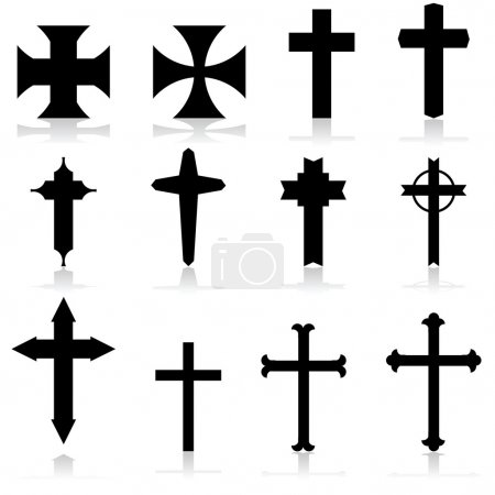 Icon set showing crosses in different patterns and...