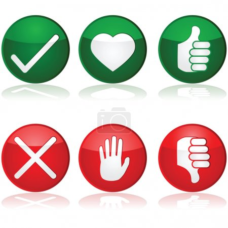 Illustration for Icon set with different positive and negative options for interaction buttons - Royalty Free Image