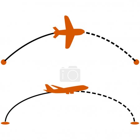 Illustration for Concept illustration showing a plane following a line indicating its route - Royalty Free Image