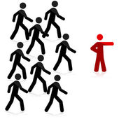 Concept illustration showing a red man pointing forward and a group of people following