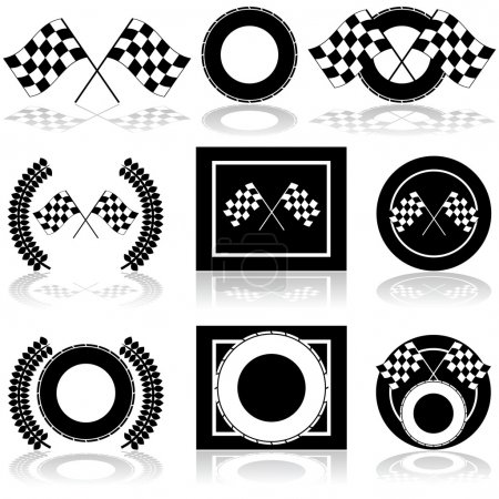 Illustration for Icon set showing a couple of checkered flags and a tire set up in different arrangements - Royalty Free Image