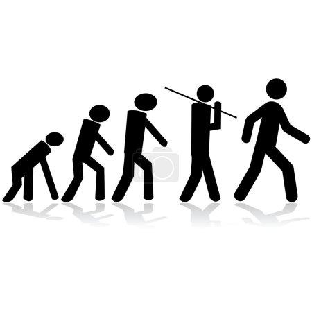 Concept illustration showing stick figures evolvin...