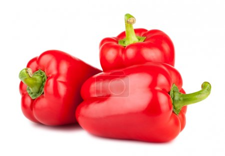 Photo for Three sweet red peppers isolated on white background - Royalty Free Image