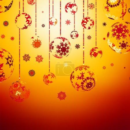 Elegant Christmas with gold balls. EPS 8