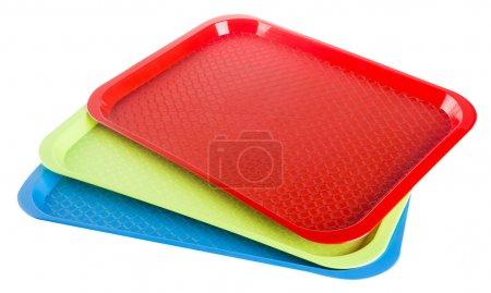 Plastik leere Tablett auf einem Hintergrund