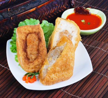 Photo for Yong Tau Fu. delicious Asian Chinese cuisine of fish paste stuffed - Royalty Free Image