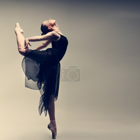 Photo for Beautiful ballet-dancer, modern style dancer posing on studio background - Royalty Free Image