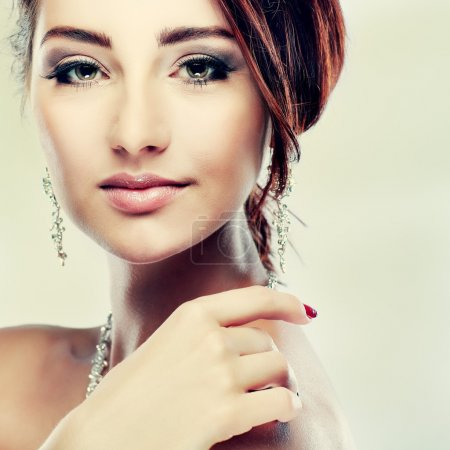 Photo for A portrait of elegant girl is in fashion style. Wedding decoration. - Royalty Free Image