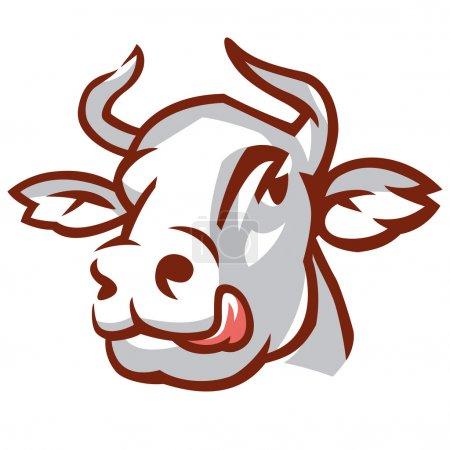 Illustration pour Chef de la vache lécheuse. Le dessin stylisé. Illustration vectorielle - image libre de droit