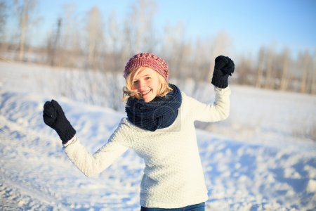 Photo for Happy young woman in winter clothing - Royalty Free Image