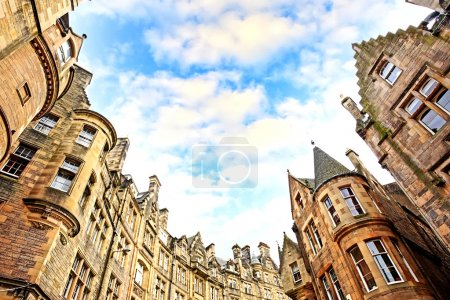 Photo for Historical architecture in the street of the Old Town in Edinburgh, Scotland - Royalty Free Image