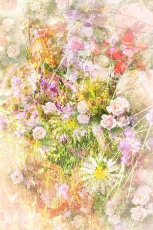 Summer flowers meadow grungy background