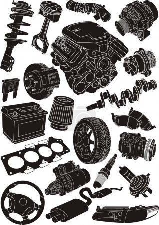Illustration for Set of car part contours - Royalty Free Image
