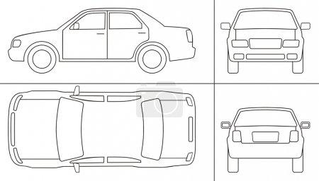 Illustration for Passenger car keyline different sides - Royalty Free Image