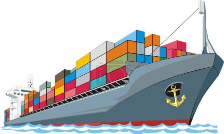 Illustration for Cargo ship with containers - Royalty Free Image