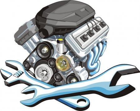 Illustration pour Signe d'une réparation de moteur de voiture - image libre de droit