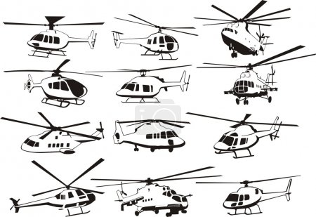 Illustration for Helicopter silhouette set - Royalty Free Image