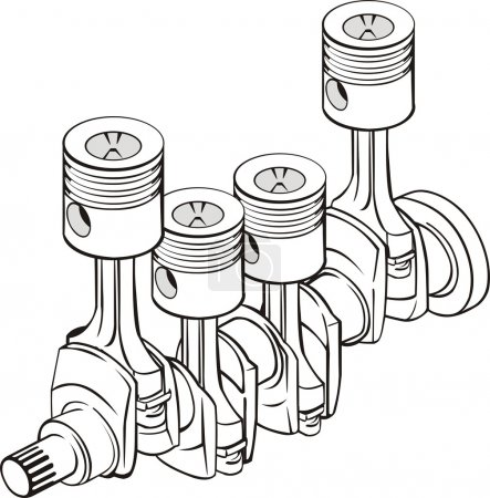 Illustration for Piston group with crankshaft - Royalty Free Image
