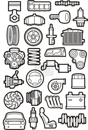 Illustration pour Jeu de contours de pièces de voiture - image libre de droit