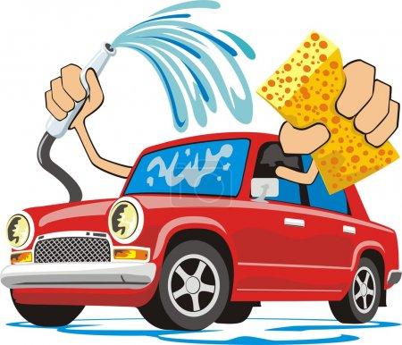 Illustration pour Signe de lavage de voiture avec éponge et tuyau - image libre de droit
