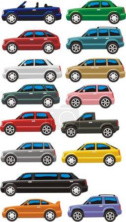 Illustration pour Tout type de carrosserie de voiture - image libre de droit