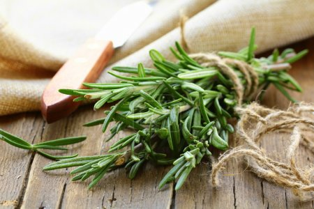 Photo for Organic bunch of fresh rosemary on the table - Royalty Free Image