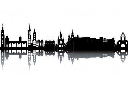Krakow skyline - black and white vector illustrati...