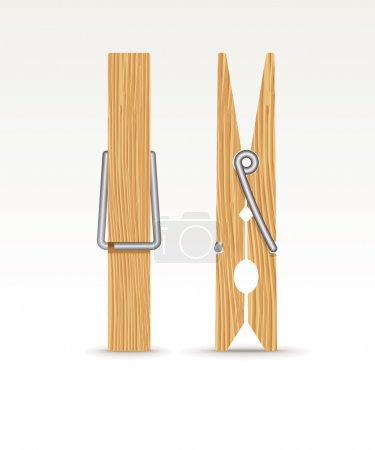 Two wooden cloth clips - vector illustration...